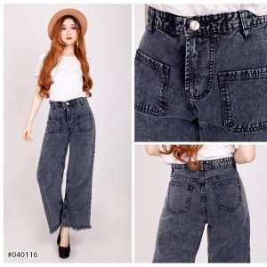 Harga celana boyfriend kulot rumbai sabrina jeans wanita snow hitam   27 snow | HARGALOKA.COM