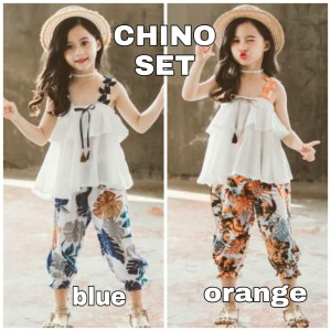 Harga bajukiddie chino set baju setelan anak cewek casual model korea import   blue size | HARGALOKA.COM