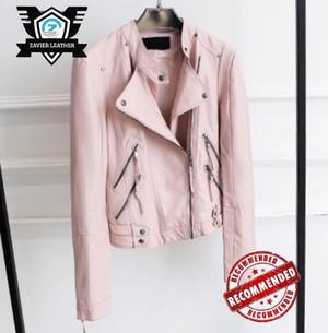 Harga jaket kulit ramones wanita crop pink jaket motor wanita lengan panjang   merah muda | HARGALOKA.COM