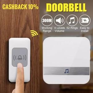 Harga bel rumah wireless bel pintu doorbell door bell waterproof   putih 1 | HARGALOKA.COM