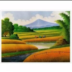 Harga lukisan gunung sawah 60 x 80 cm   | HARGALOKA.COM