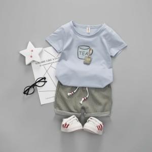 Harga setelan baju anak laki laki kaos celana bayi balita 1 4 tahun teabag   blue 1 2 | HARGALOKA.COM