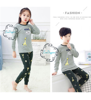 Harga piyama baju anak import adem katun halus karakter seri 26 size big   giraffegrey size   HARGALOKA.COM