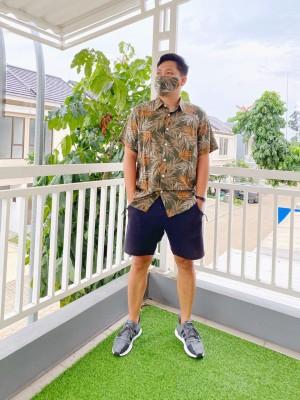 Harga kemeja santai pria motif batik daun floral vintage free | HARGALOKA.COM
