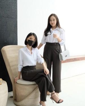 Harga formal stripes culotte with matching mask bahan woven   balen culotte   grey | HARGALOKA.COM