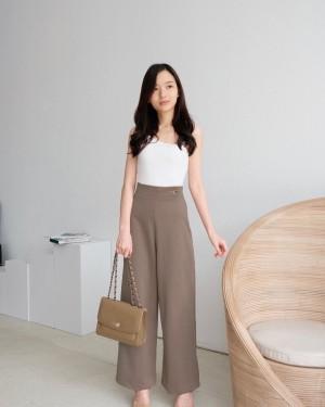Harga culotte wanita highwaisted formal bahan woven   hillary culotte   khaki | HARGALOKA.COM