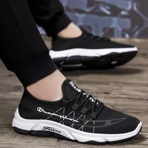 Harga sepatu import sneakers pria fashion wild   hitam putih   HARGALOKA.COM