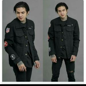 Harga jaket jeans denim tebal bordir hitam high quality termurah     HARGALOKA.COM