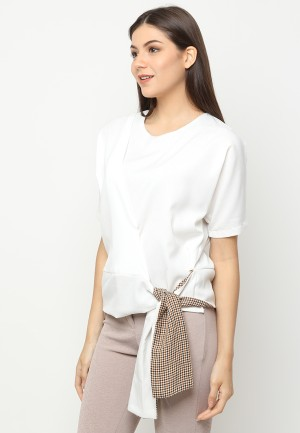 Harga cammomile blouse tied fashion atasan wanita 1804010 white ikat samping   white | HARGALOKA.COM