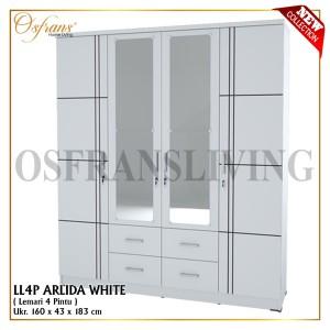 Harga termurah lemari besar pakaian 4 pintu sabi lp 4 ll walnut 1067   arlida | HARGALOKA.COM