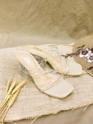 Harga terlaris zara high heels wanita hak kaca 5cm   krem   HARGALOKA.COM