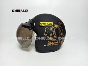 Harga helm bogo vespa classic black doff gold retro half   HARGALOKA.COM