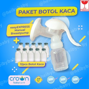 Harga paket crown manual breast pump storage botol asi kaca 12 | HARGALOKA.COM
