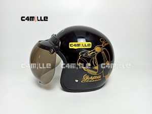 Harga helm bogo vespa classice black gold gloss retro half   HARGALOKA.COM