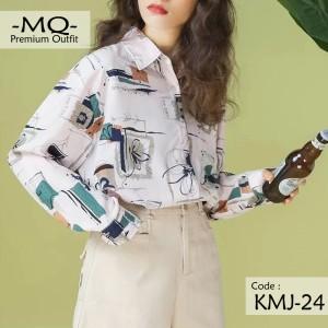 Harga kemeja wanita import   baju atasan cewek lengan panjang premium | HARGALOKA.COM