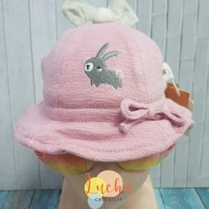 Harga topi anak perempuan bunny bowler hat tebal   merah | HARGALOKA.COM