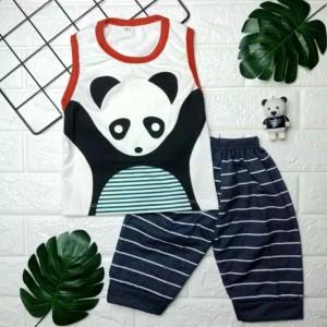 Harga baju anak setelan anak laki laki singlet panda edition bahan | HARGALOKA.COM
