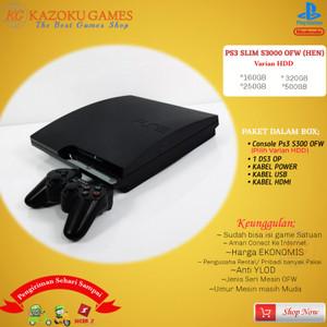Harga ps3 ps 3 slim sony playstation ofw seri 3000 160gb   500gb 1stick op   hitam   HARGALOKA.COM