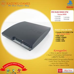 Harga ps3 ps 3 slim sony playstation cfw seri 2500 160gb  500gb no stick   hitam   HARGALOKA.COM