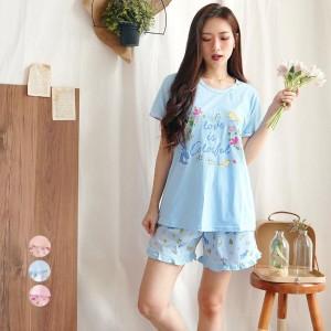 Harga baju tidur piyama wanita yumico bahan import kaos ht   love colorful   merah   HARGALOKA.COM