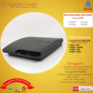 Harga ps3 ps 3 slim sony playstation ofw seri 3000 160gb   500gb non stick   hitam   HARGALOKA.COM