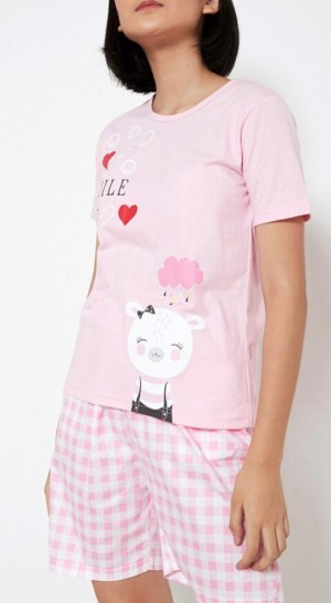 Harga baju tidur piyama wanita yumico bahan import kaos ht   smile   biru   HARGALOKA.COM
