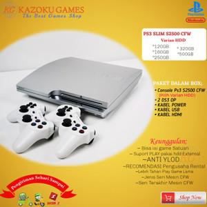 Harga ps3 ps 3 slim sony playstation seri cech 2500 160gb   500gb 2stik op   silver   HARGALOKA.COM
