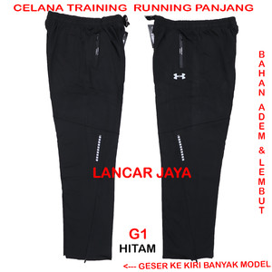 Harga celana training olahraga panjang gym running import premium   my2   hitam | HARGALOKA.COM