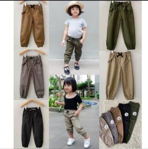 Harga celana jogger anak perempuan kekinian bahan twill 0 6th harga promo   9 12 | HARGALOKA.COM