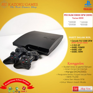 Harga ps3 ps 3 slim sony playstation ofw seri 3000 160gb   500gb 2stick op   hitam   HARGALOKA.COM