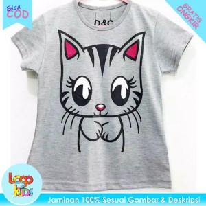 Harga baju kaos anak murah lengan pendek logokids cute cat grey 1 10 tahun   1 | HARGALOKA.COM