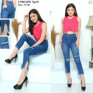 Harga celana highwaist jeans 7 9 highwaist ripped jeans cewek sz 27 30 h5903     HARGALOKA.COM