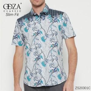 Harga baju batik solo pria kemeja lengan pendek motif modern kombinasi corak     HARGALOKA.COM