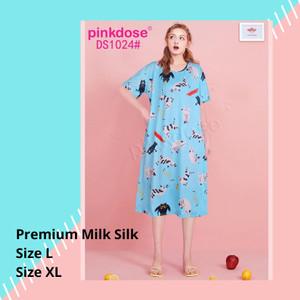 Harga baju tidur wanita jumbo big size daster midi 1024   biru | HARGALOKA.COM