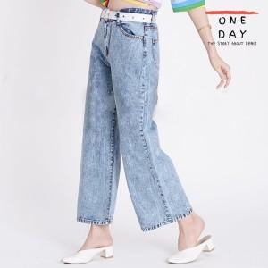Harga odj   becca wide leg boyfriend jeans celana denim wanita panjang kulot   acid blue | HARGALOKA.COM