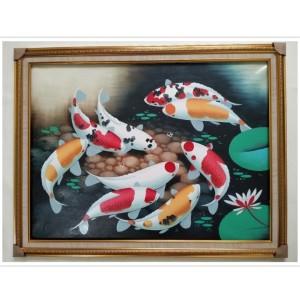 Harga lukisan ikan koi feng shui komplit bingkai 60 x 80 cm   | HARGALOKA.COM