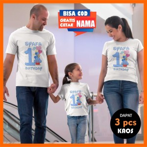 Harga kaos couple keluarga ulang tahun   ultah baju family gratis cetak | HARGALOKA.COM