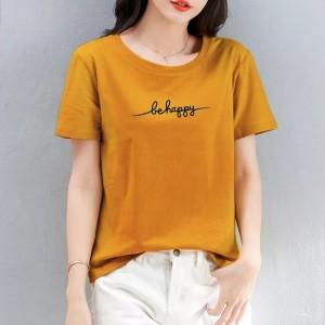 Harga kaos wanita be happy tshirt katun combed 30s tumblr tee   m   HARGALOKA.COM
