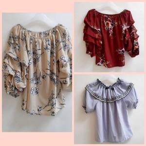 Harga baju atasan model sabrina blouse wanita motif bunga   | HARGALOKA.COM