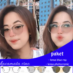 Harga kacamata anti radiasi wanita photocromic minus   hitam gold anti blue | HARGALOKA.COM