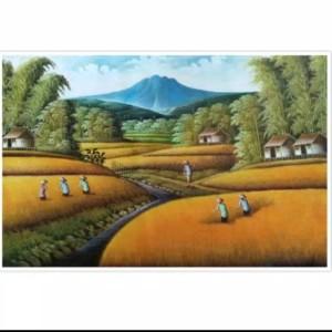 Harga lukisan gunung sawah 85 x 135 cm   | HARGALOKA.COM