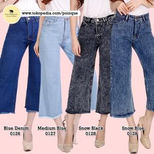 Harga kulot rawis jeans denim wanita kulot jeans celana kulot kulot wa   blue denim | HARGALOKA.COM
