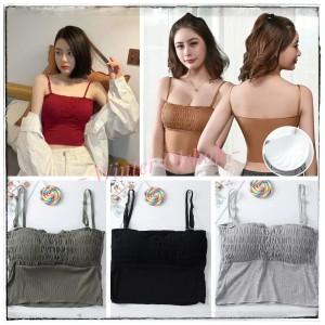 Harga tanktop model kerut ada cup tank top tali wanita   | HARGALOKA.COM