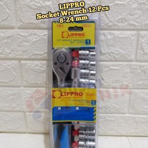 Harga kunci socket set lippro 12 pcs 1 2 34 6pt   kunci sok set lippro 12 | HARGALOKA.COM
