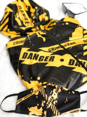 Harga set jacket mask hypebeast crime scene yellow  | HARGALOKA.COM