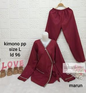 Harga piyama lengan panjang model kimono motif embos list baju tidur wanita   | HARGALOKA.COM