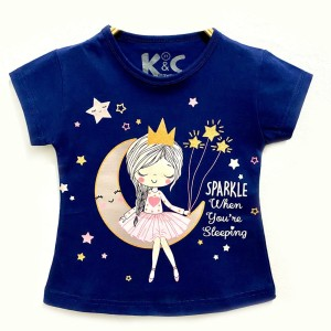 Harga kaos anak perempuan baju anak perempuan biru tua motif sparkle   size | HARGALOKA.COM