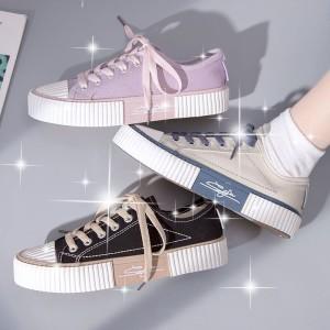 Harga sepatu wanita kanvas gadis running sport sneakers kasual canvas wanita   ungu   HARGALOKA.COM
