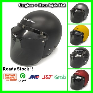 Harga helm cargloss retro injak visor smoke retro classic klasik vespa   m black   HARGALOKA.COM