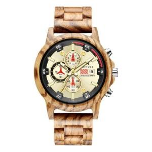 Harga ninocs wooden watch chronograph original jam waterproff garansi 1 th   | HARGALOKA.COM